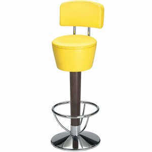 Pienza chrome and beech swivel bar stool with back (Sunflower Yellow Single)