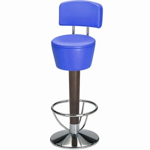 Pienza chrome and beech swivel bar stool with back #1#Capri Blue Single#2#