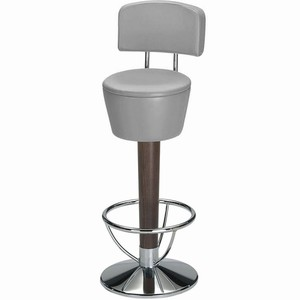 Pienza chrome and beech swivel bar stool with back (Grey Single)