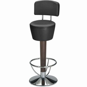 Pienza chrome and beech swivel bar stool with back #1#Ebony Black Single#2#
