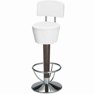 Pienza chrome and beech swivel bar stool with back #1#Snowdrop White Single#2#