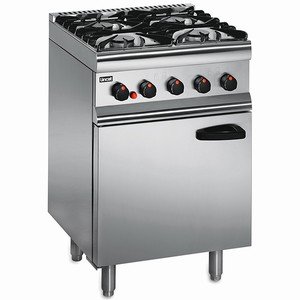 Lincat Silverlink 600 Gas Oven 4 Burner Range (SLR6 N Natural Gas with Legs at Rear with Splashback)