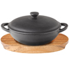 Utopia Cast Iron Mini Wok with Lid & Round Acacia Wood Board