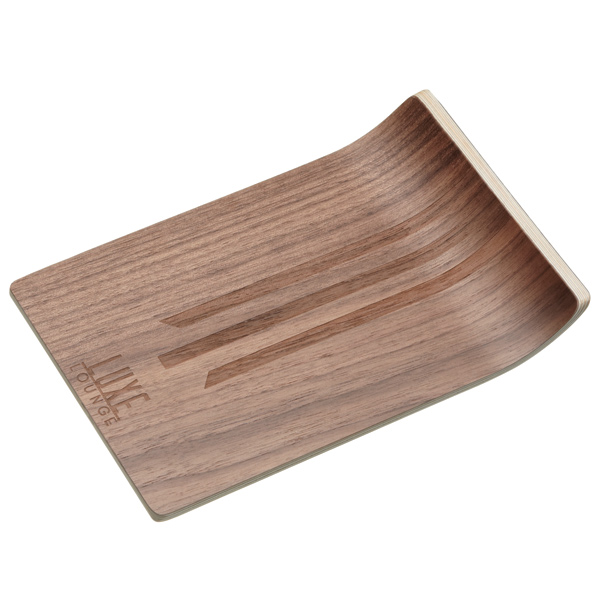 Luxe lounge walnut veneer bar canape tray for Canape trays uk