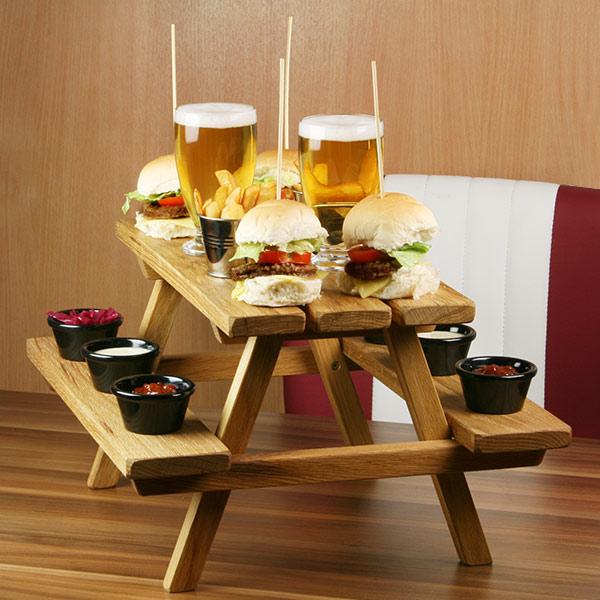 Miniature Oak Picnic Bench Serving Platter Barmans Co Uk