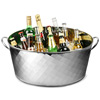 Stainless Steel Oval Party Tub Diamond Design