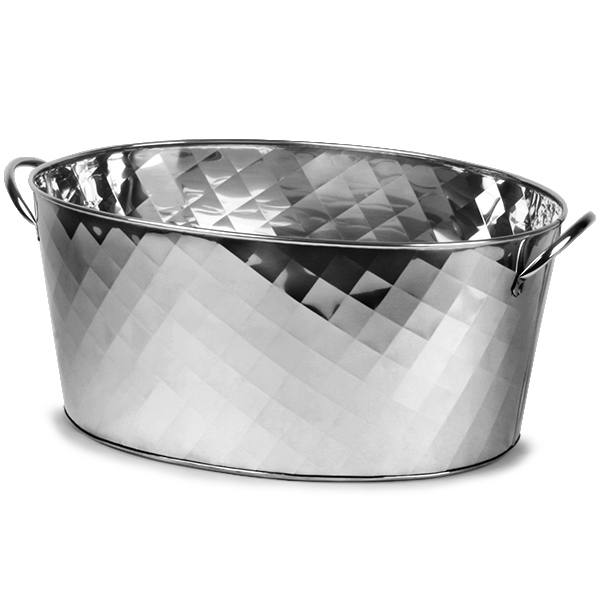 Stainless Steel Oval Party Tub Diamond Design Beverage