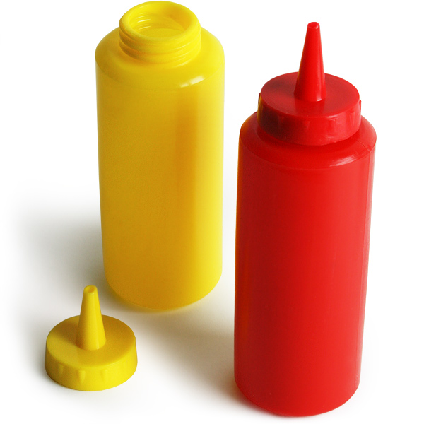 Picnic Bench Condiment Set Ketchup Bottles Mustard