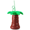 Plastic Palm Tree Cup with Krazy Straw 17.6oz / 500ml