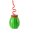 Plastic Watermelon Cup with Krazy Straw 14.4oz / 410ml