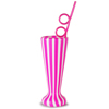 Plastic Cabana Stripe Milkshake Cup with Krazy Straw 19.4oz / 550ml