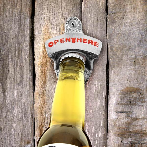 wall mounted zinc bottle opener bottle openers beer bottle opener buy at barmans. Black Bedroom Furniture Sets. Home Design Ideas