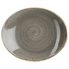 Churchill Stonecast Peppercorn Grey Oval Coupe Plate 19.2cm