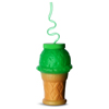 Plastic Ice Cream Cone Shaped Cup with Krazy Straw 17.6oz / 500ml