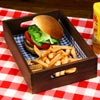 Wooden Burger Tray Dark Pine 28 x 19 x 6cm